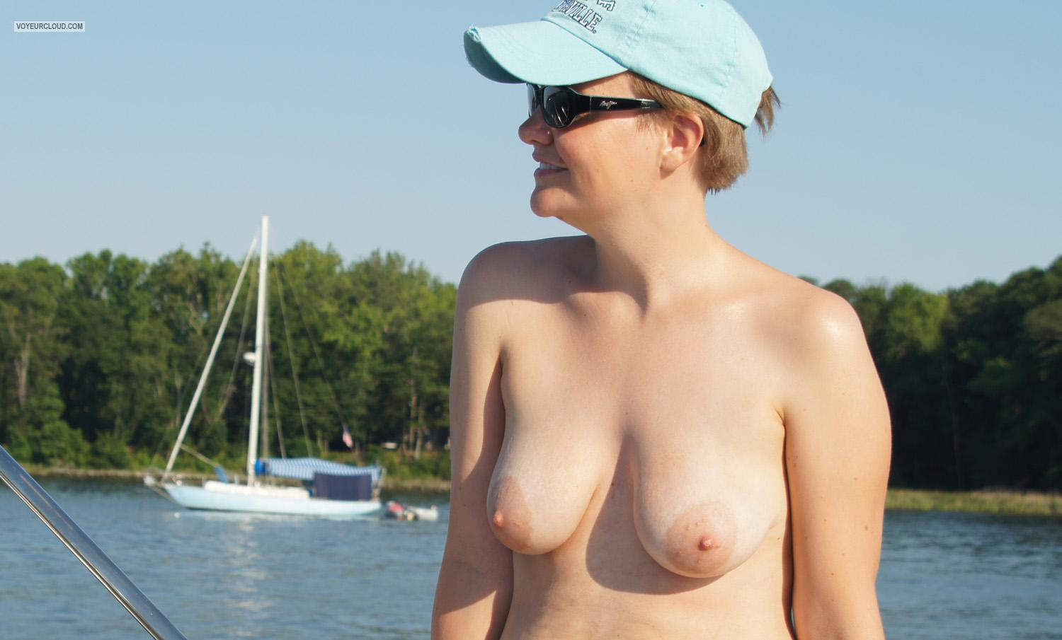 Tit Flash: Girlfriend's Medium Tits - Topless Wicked from United Kingdom